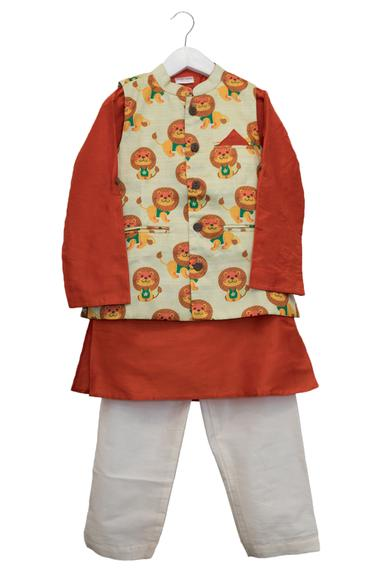 Lion Print Jacket With Kurta & Pyjama