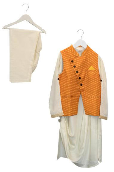 Angarkha Leheriya Jacket With Kurta & Pyjama
