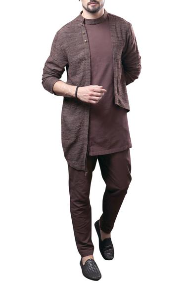 Asymmetric Jacket Kurta With Pant