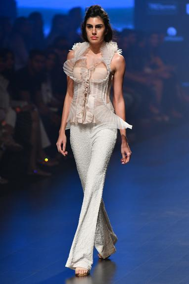 Textured Overlay Corset With Pants