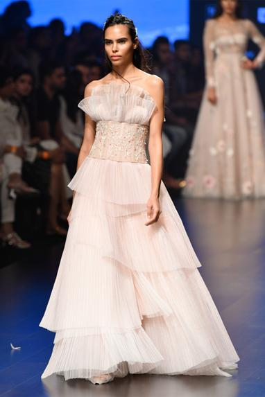 Layered Pleated Gown With Corset Belt