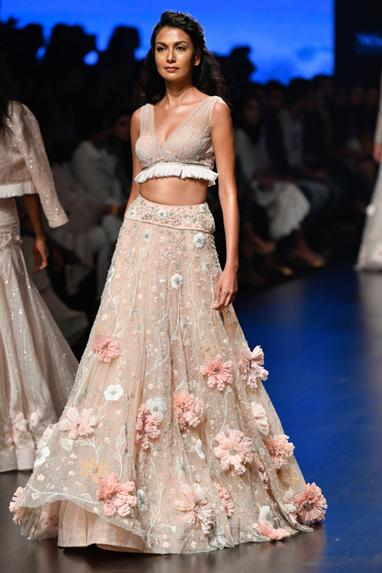 3D Floral Embellished Lehenga With Blouse