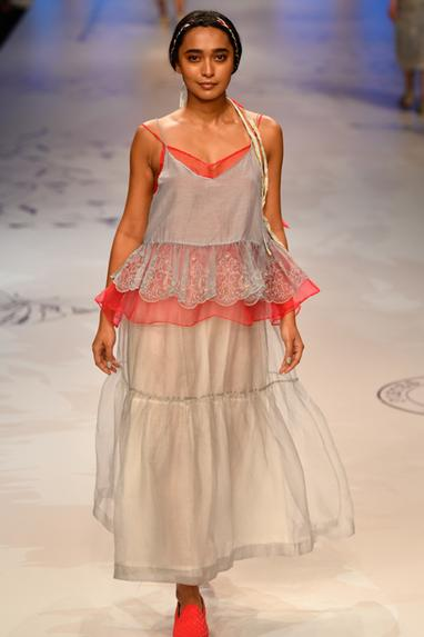 Embroidered Spaghetti With Ruched Top & Tiered Skirt