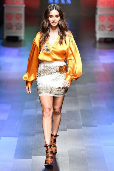 Sequin embroidered skirt with blouse