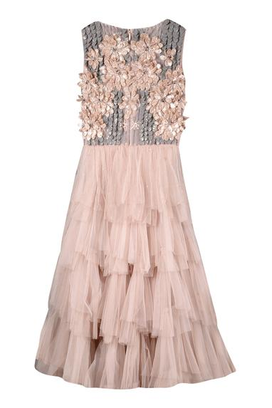 Embroidered tiered gown