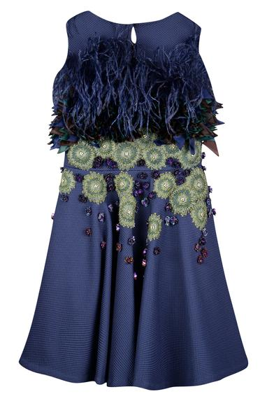 Textured floral embroidered dress