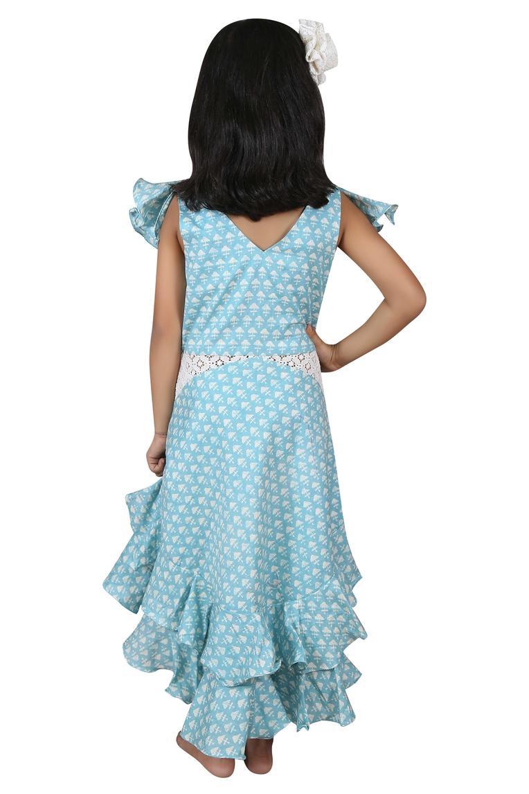 Frill printed midi dress