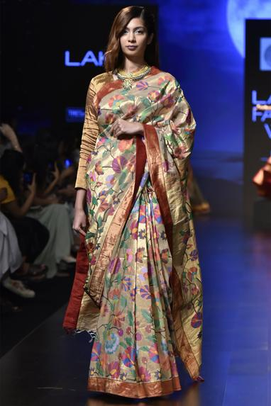 Floral woven saree with blouse