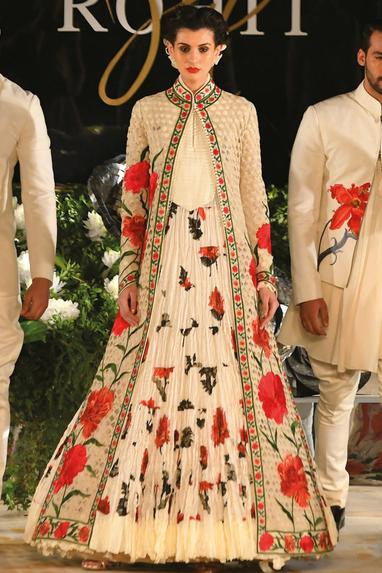 Printed & embroidered long jacket