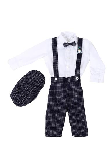 Checkered pant set with suspender