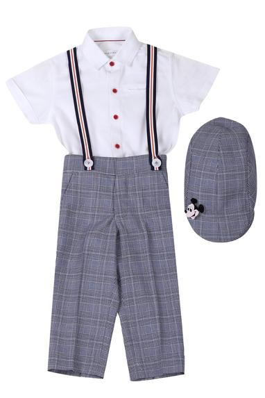 Checkered pant & shirt set with suspender