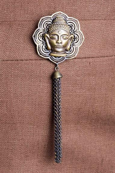 Buddha Brooch with Chain Tassels