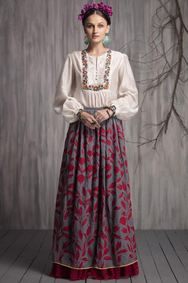 Chanderi Embroidered Top