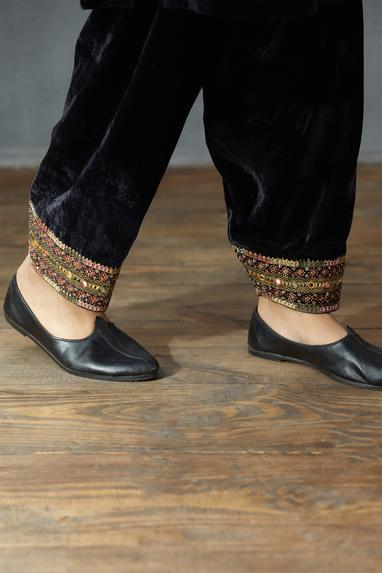 Embroidered Draped Pants