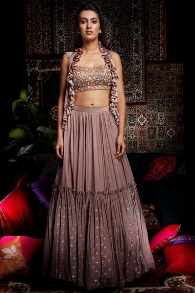 Embroidered Jacket Lehenga Set