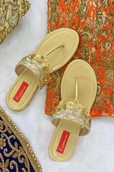 Sequin Embroidered Sandals