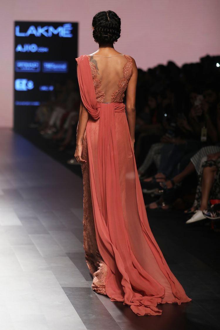 Cognac lace saree ball gown