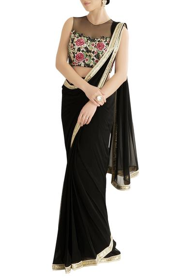 Black saree with embroidered blouse