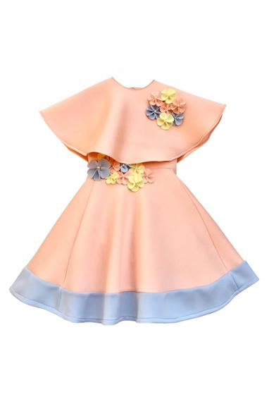 Peach flower motif party gown