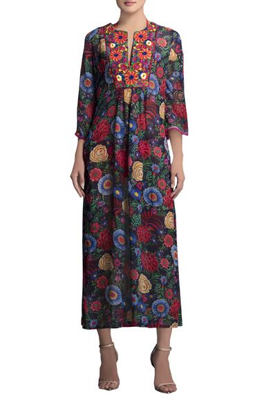 Blue floral printed tunic