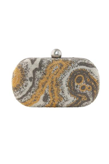 Silver oval clutch with japanese bead embellishments