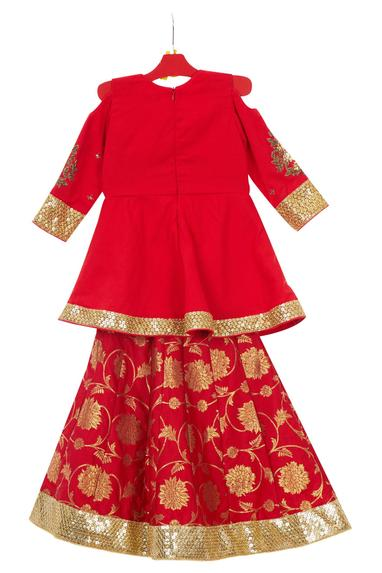 Red brocade cotton lehenga with cold shoulder anarkali