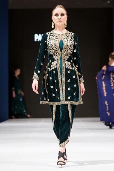 Green velvet pittan embroidered kurta set