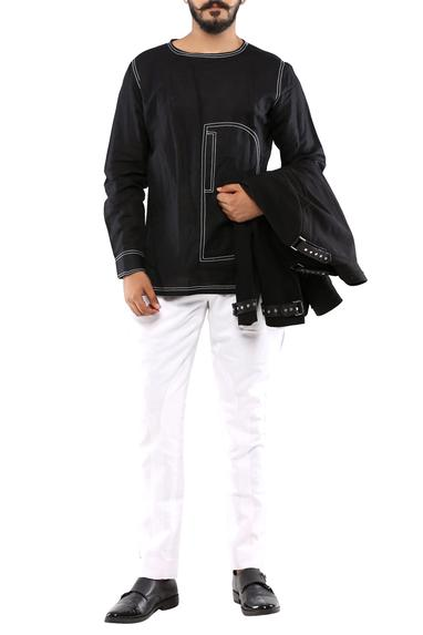 Black cotton shirt with white detailing