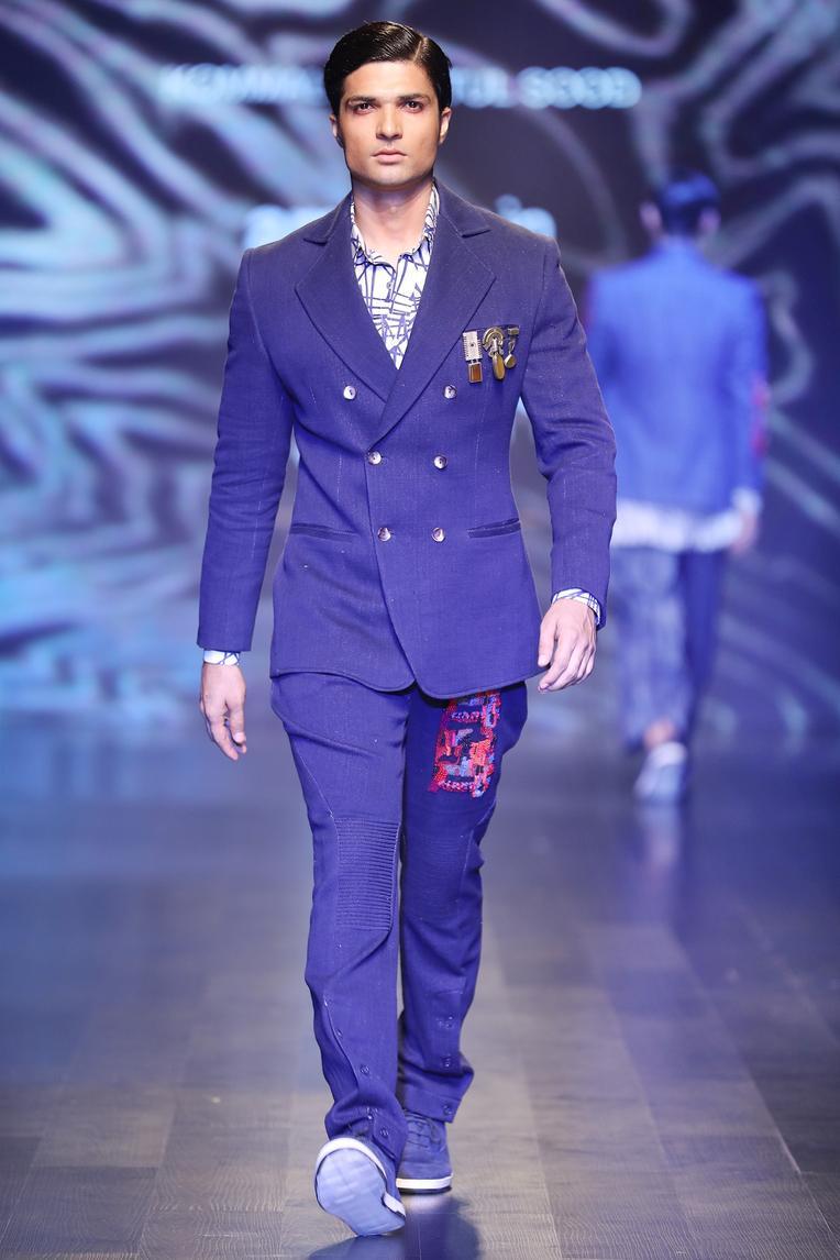 Dark blue handloom denim patch work jodhpuri trousers