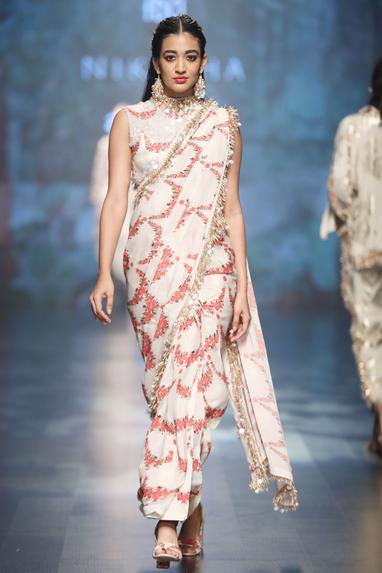 Ivory crepe & dupion scalp printed saree with blouse