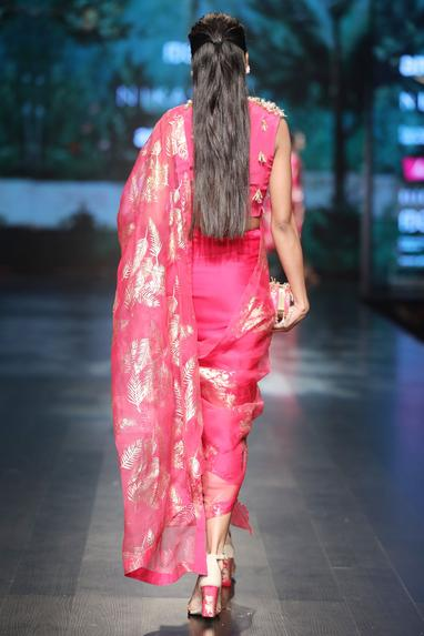 Magenta crepe & lycra satin & organza embroidered dhoti saree with overlap blouse