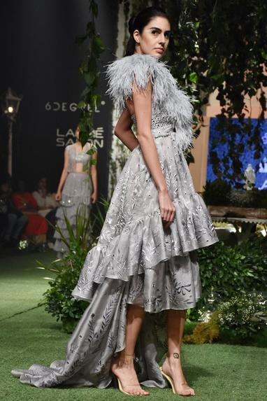 Pale grey ostrich feather cape
