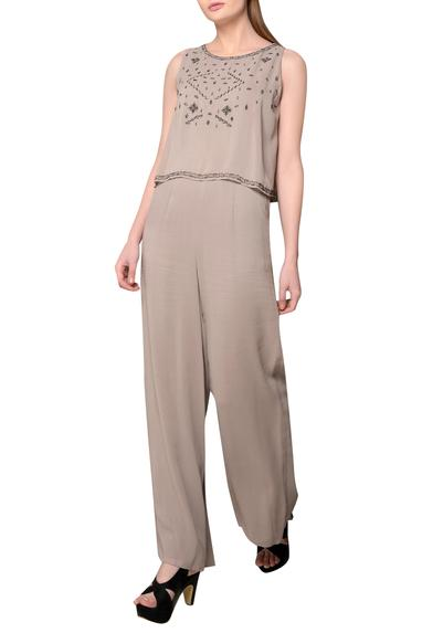 Embroidered Overlay Jumpsuit
