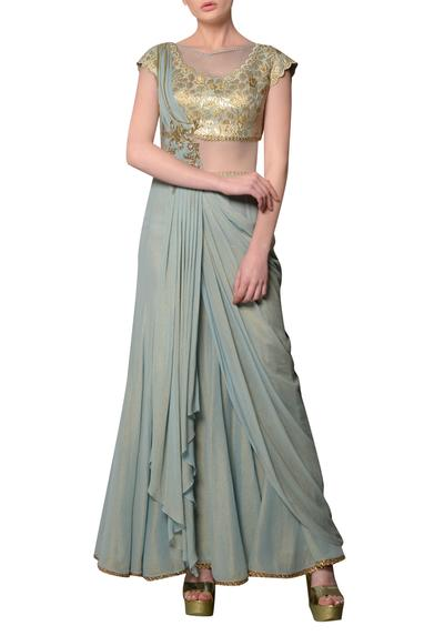 Pearl blue brocade & shimmer georgette draped saree