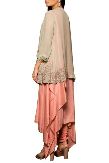 Pink & pale blue modal silk & georgette machine & hand embroidered asymmetric draped kurta with pleated overlay & churidar