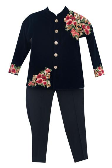 Dark blue velvet & suiting fabric embroidered ajkan with black pants