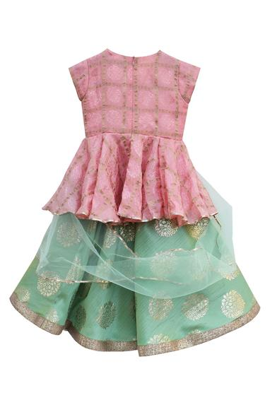 Peach peplum blouse with foil printed lehenga with pre-attached dupatta