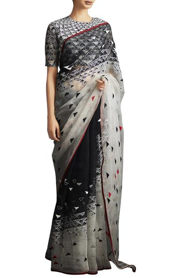 Champagne & black triangular bandhani applique saree with blouse