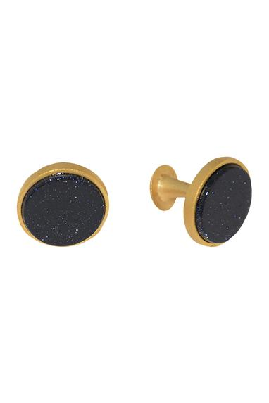 Black brass handcrafted circular cufflinks