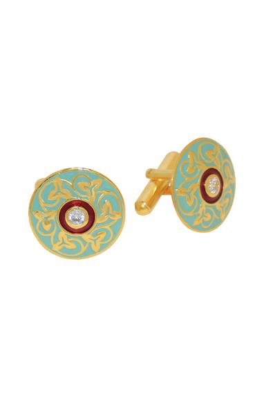 Turquoise & maroon cufflinks with gold detailing