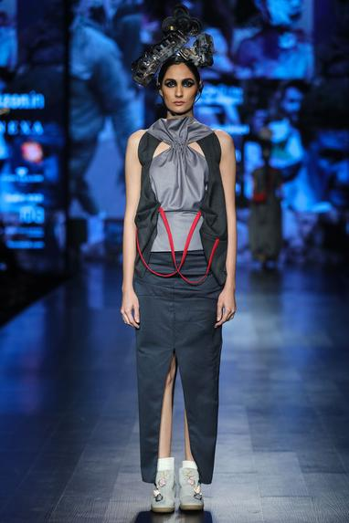 Grey polycotton deconstructed waist coat with maxi skirt