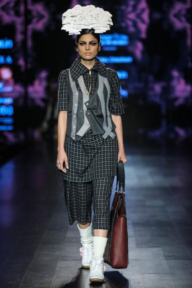 Black egyptian cotton chequered tunic with crop pants & grey poly cotton waist coat