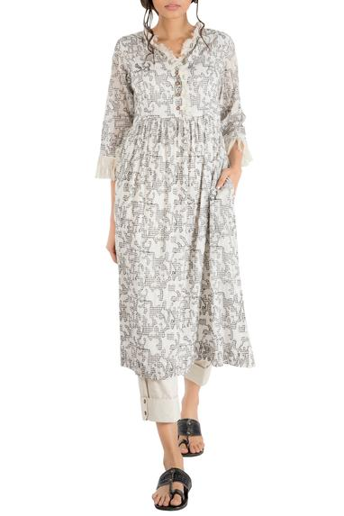 Ivory cotton gathered tunic with embroidery