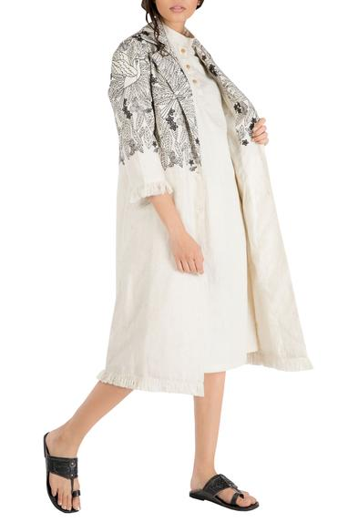 Ivory tropical embroidered trench jacket with frayed edges