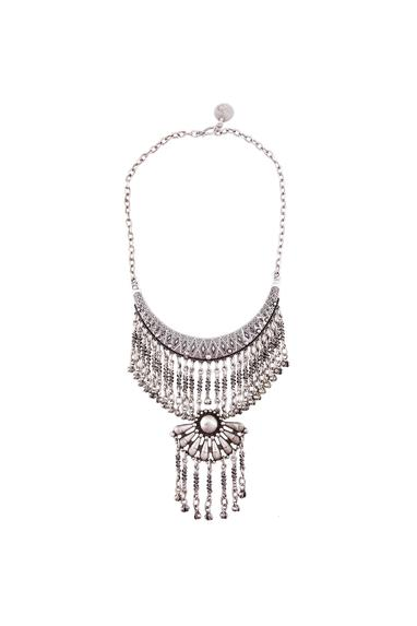 Silver finish floral pendant necklace with screw drops