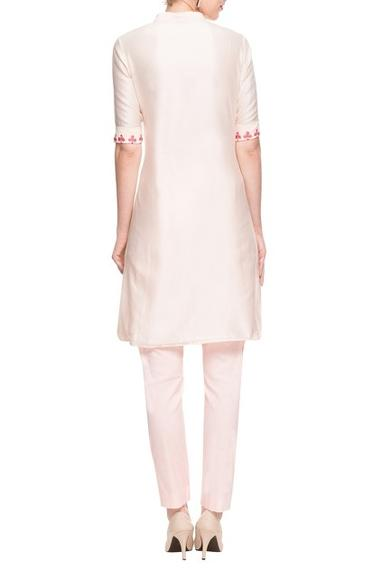 White & pink high low kurta set