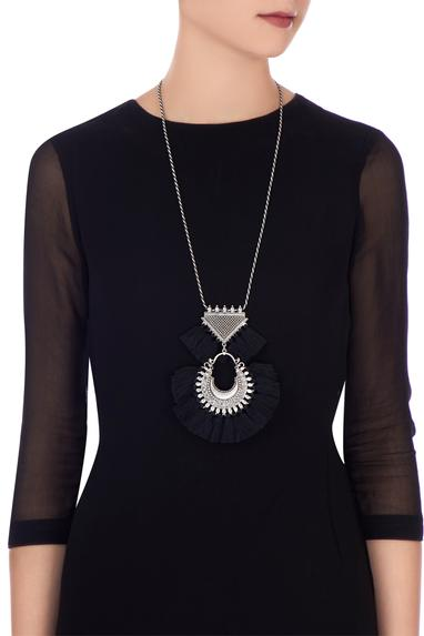 Black tasseled matinee necklace