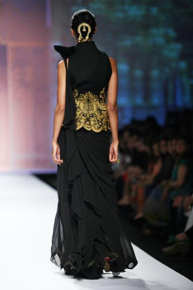 Black ruffled saree gown