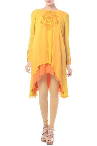 Mustard & tangerine embroidered high low tunic