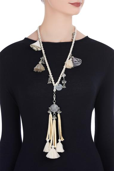 Tassel & coin long necklace